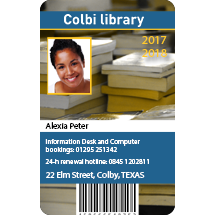 Plastic Library ID cards